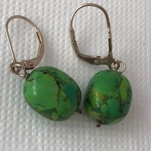 Hand made sterling green Turquoise dangle earrings
